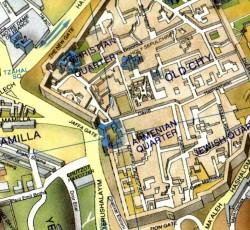 Pictorial Map of Old City of Modern Jerusalem - Modern Jerusalem map 2