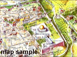 Pictorial Map of the Old City of Modern Jerusalem - Modern Jerusalem map 1